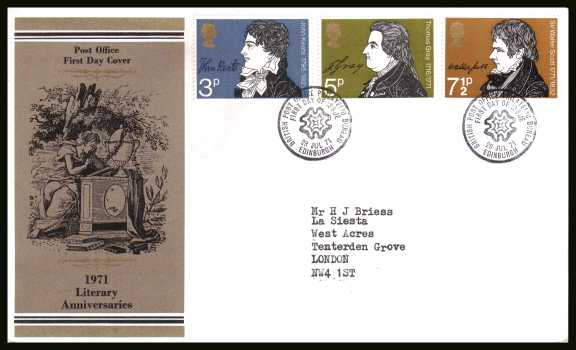 view larger back view image for Literary Anniversaries set of three on a neatly typed addressed official Post Office