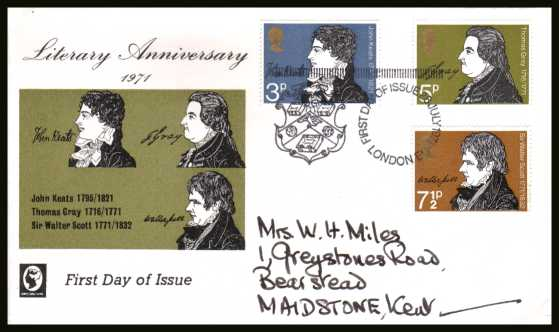 view larger back view image for Literary Anniversaries set of three on a hand addressed CAMEO