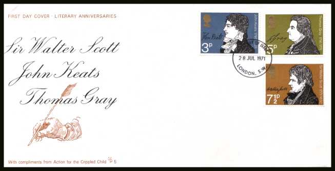 view larger back view image for Literary Anniversaries set of three on an unaddressed ACTION FOR THE CRIPPLED CHILD - No 5