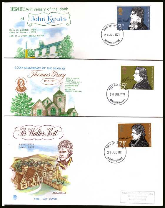 view larger back view image for Literary Anniversaries set of three with three different design handstamped addressed STUART FDCs each canbcelled with a BIRMINGHAM FDI dated 28 JUL 1971