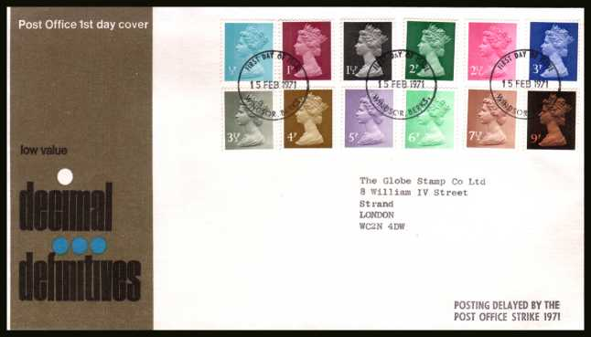 view larger back view image for The initial Machin definitive set of twelve on an unaddressed official Post Office FDC cancelled with a WINDSOR