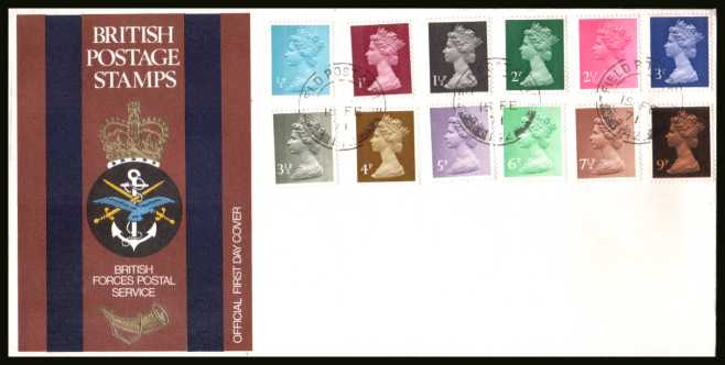 view larger back view image for The initial Machin definitive set of twelve on an unaddressed