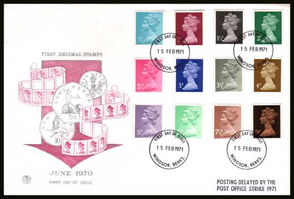 view larger back view image for The initial Machin definitive set of twelve on an unaddressed STUART
