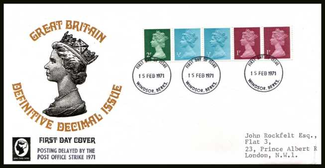 view larger back view image for The first Machin coil strip of five on an unaddressed FDC cancelled with three strikes of the WINDSOR FDI  cancel dated 15 FEB 1971. The FDC does NOT have the handstamp  'POSTING DELAYED BY THE POST OFFICE STRIKE 1971'