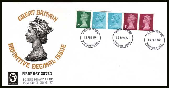 view larger back view image for The first Machin coil strip of five on unaddressed CAMEO FDC cancelled with three strikes of the WINDSOR FDI  cancel dated 15 FEB 1971. The FDC does NOT have the handstamp  'POSTING DELAYED BY THE POST OFFICE STRIKE 1971'