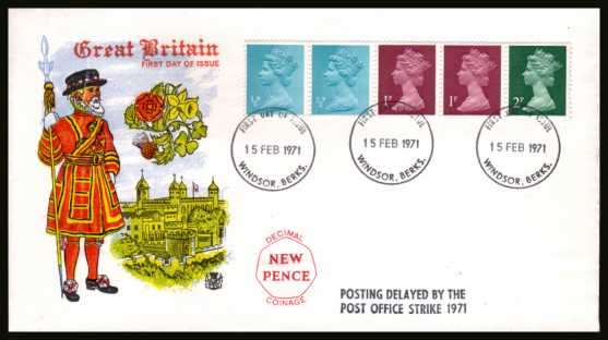 view larger back view image for The first Machin coil strip of five on an unaddressed colour STUART FDC cancelled with three strikes of the WINDSOR FDI  cancel dated 15 FEB 1971. The FDC also has the handstamp  'POSTING DELAYED BY THE POST OFFICE STRIKE 1971'