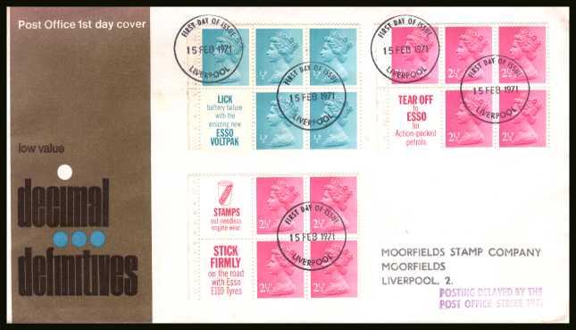 view larger back view image for The Machin set of three panes on a handstamped address official Post Office  FDC each cancelled with several WINDSOR - BERKS FDIs dated 15 FEB 1971. The FDC also has the handstamp 'POSTING DELAYED BY THE POST OFFICE STRIKE 1971'