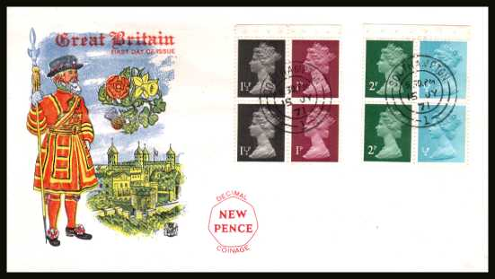 view larger back view image for The Machin set of two panes on an unaddressed colour STUART FDC cancelled with two double ring CDSs for SOUTHAMPTON 15 JY 71. This is the second day. Had this been cancelled the previous day retail would be circa �350