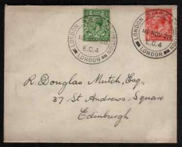 view larger front view of image for �d Green and 1d Scarlet on a small neat cover each stamp crisply cancelled with the a double ring date stamp for LONDON STAMP EXHIBITION  - LONDON E.C. 4 dated 16 NOV 28. On back, exhibition advert label in green. 'A PAGENT OF POSTAGE' !