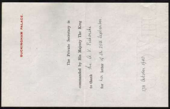 view larger back view of image for 2�d Ultramarine on a BUCKINGHAM PALACE envelope unusually mailed from WINDSOR on 17 OCT 1940 containing a letter thanking a Mrs Pickorski for her letter.