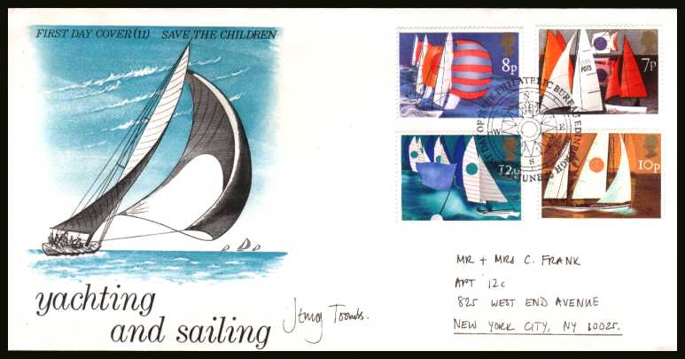 view larger back view image for Sailing set of four on a hand addressed PHILART - SAVE THE CHILDER FUND - No 11 cancelled with the PHILATELIC BUREAU - EDINBURGH cancel dated 11 JUNE 75. NOTE: This cover is autographed by the designer JENNIFER (JENNY) TOOMBS with the address in her hand.
