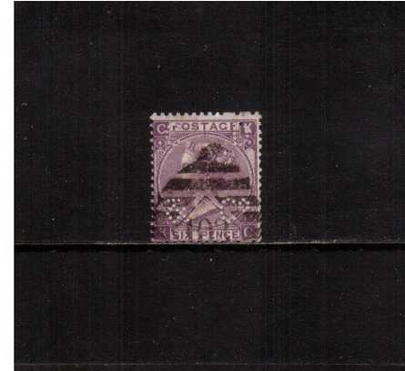 view larger image for SG 109 (1869) - 6d Mauve - Without Hyphen from Plate 8 lettered ''K-C''. A good looking stamp perfined ''C D & Co''. The stamp also clearly shows two broken perforations top and bottom, SG Cat �140 