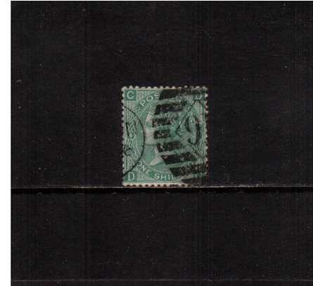 view larger image for SG 117 (1867) - 1/- Green from Plate 4 lettered ''D-C''. A well centered stamp with a short perf at foot and a tiny tear.<br/>SG Cat �65 