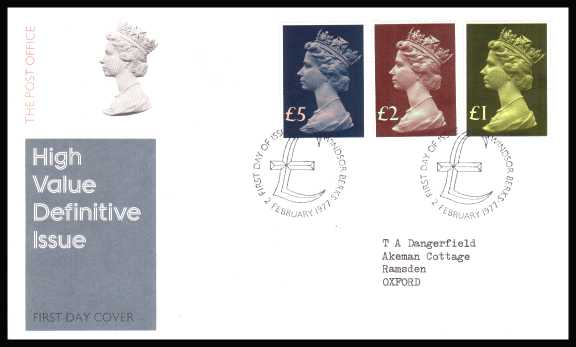 view larger back view image for The Machin High Value set of three on neatly typed addressed official Post Office FDC cancelled with two strikes of  the WINDSOR - BERKS cancel dated 2 FEB 1977