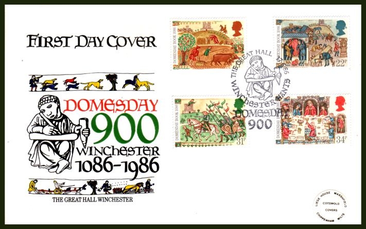 view larger back view image for Medieval Life - Domesday Book set of four on an OFFICIAL COTSWOLD unaddressed (tiny peelable label) First Day Cover cancelled with THE GREAT HALL - DOMESDAY 900 