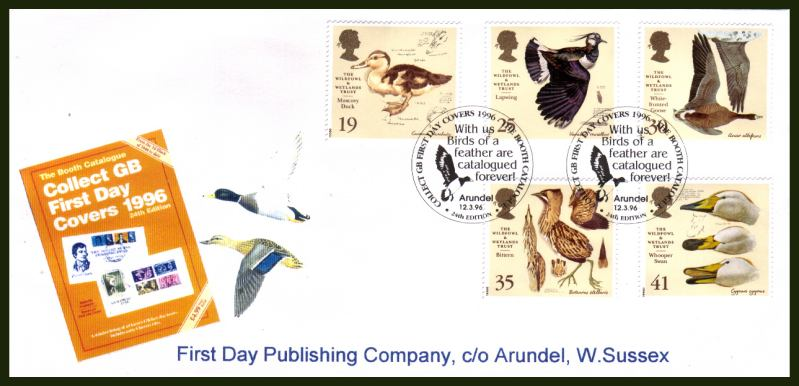 view larger back view image for Wildfowl and Wetlands Trust set of five on an OFFICIAL unaddressed FDP Co First Day Cover cancelled with the GB FDC CATALOGUE  