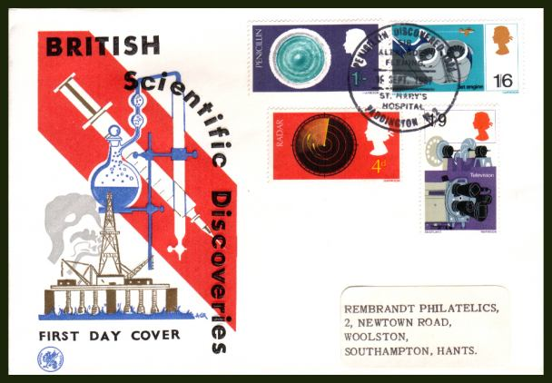 view larger back view image for British Discovery and Invention set of four on a WESSEX  label addressed FDC cancelled with a single central special cancel for PENICILLIN DISCOVERED - PADDINGTON W.2 dated 19 SEP 1967.