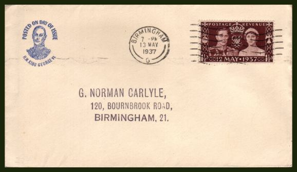 view larger back view image for Coronation single on a small neat cover with small Blue printed cachet at left cancelled with a BIRMINGHAM ''Wavy Line'' clearly dated 13 MAY 1937. Lovely!