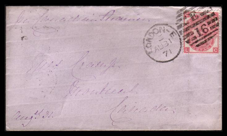 view larger front view of image for 3d Rose - Plate 6 lettered ''L-G'' tied to a small complete pale Blue envelope by a LONDON - E16 duplex dated AU 31 71 to MONTREAL - CANADA.<br/>SG Cat �110.00