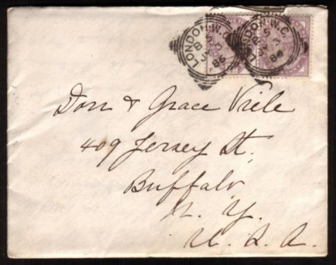 view larger front view of image for 1�d from ''Lilac and Green'' issue together with a 1d Lilac cancelled with two strikes of a LONDON W.C. ''Squared Circle'' cancel dated JY 3 86 on a small neat complete envelope (With full letter inside) to BUFFALO - NEW YORK state in USA.