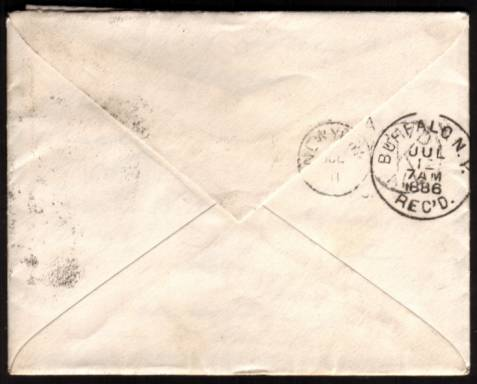 view larger back view of image for 1�d from ''Lilac and Green'' issue together with a 1d Lilac cancelled with two strikes of a LONDON W.C. ''Squared Circle'' cancel dated JY 3 86 on a small neat complete envelope (With full letter inside) to BUFFALO - NEW YORK state in USA.