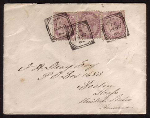 view larger front view of image for Three 1d Lilacs on a small envelope cancelled with three strikes of a variant of the ''squared circle'' dated 14 NO 82 to BOSTON - UNITED STATES