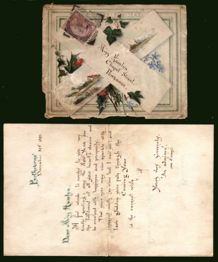 view larger front view of image for 1d Lilac on a small hand painted envelope (the criss-cross design is painted) cancelled with a ''squared circle'' cancelled JA 1 94 to a Miss Hamlyn in Penzance containing a letter from ''An Admirer''. A little battered but still very pretty!