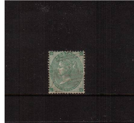 view larger image for SG 90 (1862) - 1/- Green from Plare 1 lettered ''L-G''<br/>A superb very well centered stamp very light cancelled with small fault.<br/>SG Cat �300