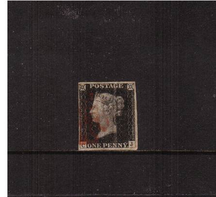 view larger image for SG 2 (1840) - 1d Black from Plate 2 lettered ''C-J''<br/>
