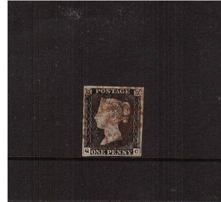 view larger image for SG 2 (1840) - 1d Black from Plate 1a lettered ''Q-C''<br/>