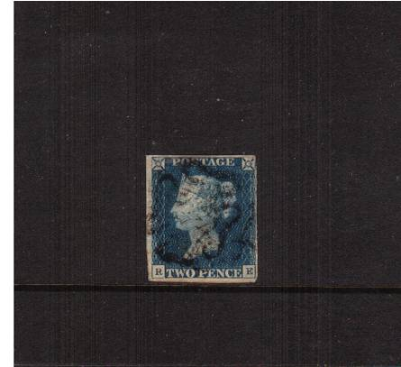 view larger image for SG 6 (1840) - 2d Pale Blue from Plate 1  lettered ''R-E''<br/>
