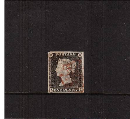 view larger image for SG 3 (1840) - 1d Grey-Black  from Plate  1a <br/>lettered ''K-I''<br/>