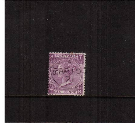 view larger image for SG 109 (1870) - 6d Mauve - Without Hyphen from Plate 9 lettered ''T-B''<br/>