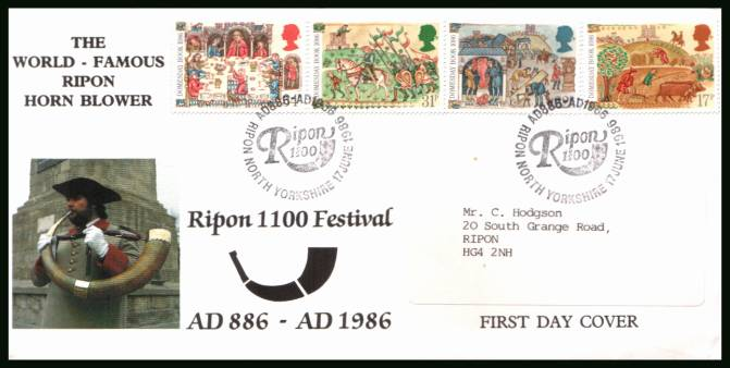 view larger back view image for Medieval Life - Domesday Book set of four on an OFFICIAL label addressed cover with insert cancelled with RIPON 1100 handstamp dated 17 JUNE 1986 produced by RIPON COUNCIL 1100 FESTIVAL. Cira 600 produced probably all label addressed. Cat £60 