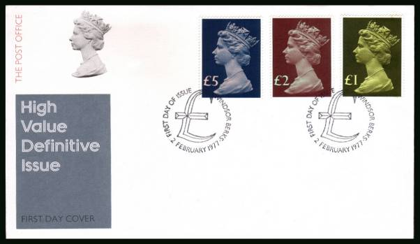 view larger back view image for The Machin High Value set of three on an unaddressed official Post Office FDC cancelled with two strikes of the WINDSOR - BERKS cancel dated 2 FEB 1977