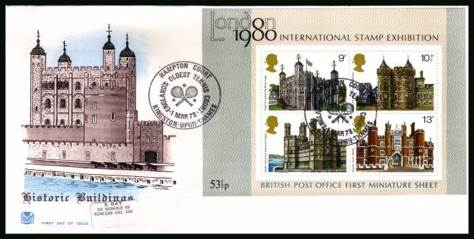 view larger back view image for Historic Buildings minisheet on a label addressed colour STUART FDC cancelled with two strikes of the HAMPTON COURT - TENNIS - handstamp dated 1 MAR 78