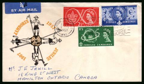 view larger back view image for World Scout Jubilee Jamboree set of three on a hand addressed illustrated FDC cancelled with the SUTTON COLDFIELD slogan cancel reading ''WORLD SCOUT JUBILEE JAMBOREE'' dated 1 AUG 1957 to ONTARIO CANADA