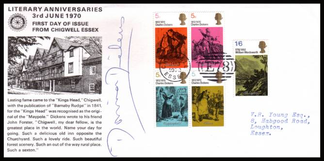 view larger back view image for Literary Anniversaries Set of five on the OFFICIAL ROTARY - CHIGWELL FDC cancelled with the special ''E78'' CHIGWELL - ESSEX handstamp dated 3 JUN 1970 autographed by MONICA DICKENS 1915-1992,  the great-granddaughter of Dickens.