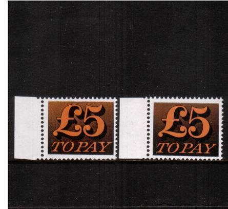 view larger image for SG D89var (1973) - �5 Orange-Yellow and Black<br/>