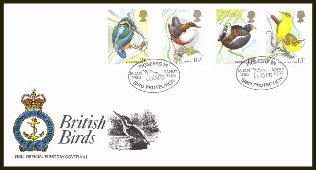 view larger back view image for British Birds set of four on an unaddressed  RNLI Official First Day Cover cancelled with two strikes of the special PIONEERS IN BIRD PROTECTION 