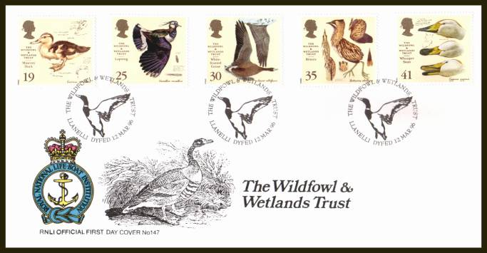view larger back view image for Wildfowl and Westlands Trust set of five on an unaddressed RNLI Official First Day Cover cancelled with two strikes of the LLANELLI - DYFED