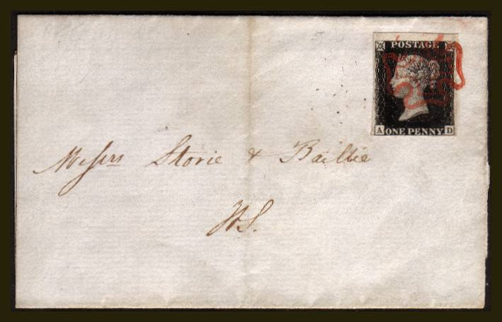 view larger front view of image for 1d Black (Intense) from Plate 5 lettered ''A-D'' with four very good margins (huge at top) on a small part local entire cancelled with a bright red Maltese Cross. Backstamped NOV 25 1840. SG Spec Cat AS24. SG Cat �775