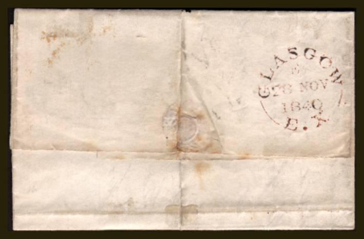view larger back view of image for 1d Black from PLate 4 lettered ''F-A'' with three, nearly four margins cancelled with a feint Red Maltese Cross on a small entire backstamped GLASGOW 28 NOV 1840 to BUSBY (just south of Glasgow) SG SPEC Cat AS23 SG Cat �775