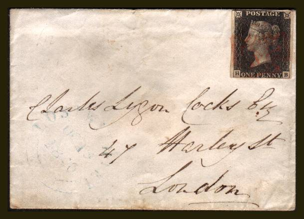 view larger front view of image for 1d Black (Grey) from Plate 2 lettered ''H-B'' with nearly four margins, touching at top left cancelled with a light Red Maltese Cross on a small complete envelope  to HARLEY ST, LONDON backstamped 21 OC 1840. SG SPEC Cat AS16