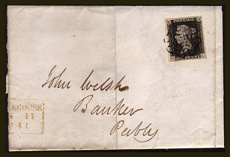 view larger front view of image for 1d Black from Plate 7  lettered ''G-L''  A lovely four margined stamp nicely cancelled with a Black Maltese Cross on large part entire from NOBLEHOUSE to PEEBLES and backstamped JUN 11 1841<br/>SG SPEC Cat AS46 SG Cat �1000
