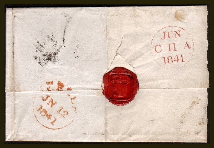 view larger back view of image for 1d Black from Plate 7  lettered ''G-L''  A lovely four margined stamp nicely cancelled with a Black Maltese Cross on large part entire from NOBLEHOUSE to PEEBLES and backstamped JUN 11 1841<br/>SG SPEC Cat AS46 SG Cat �1000