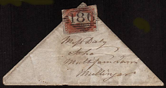 view larger front view of image for 1d Red lettered ''K-H'' on a TRIANGULAR complete entire to MULLINGAR - IRELAND cancelled with an Irish ''186'' for DUBLIN and backstamped JA 20 45. Triangular entires are very, very rare and because of the way it is folded completely authentic.