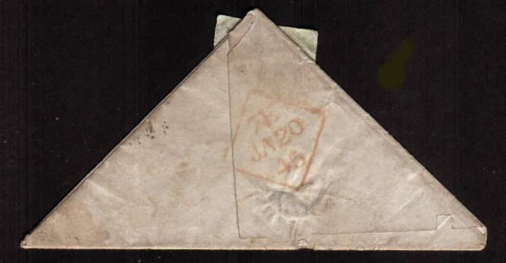 view larger back view of image for 1d Red lettered ''K-H'' on a TRIANGULAR complete entire to MULLINGAR - IRELAND cancelled with an Irish ''186'' for DUBLIN and backstamped JA 20 45. Triangular entires are very, very rare and because of the way it is folded completely authentic.