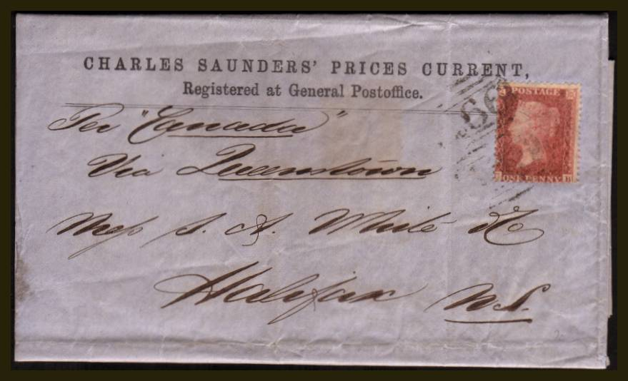 view larger front view of image for 1d Red ''Stars'' lettered ''C-B'' very lightly tied with a 466 for LIVERPOOL to a complete ''CHARLES SAUNDERS PRICES CURRENT'' to HALIFAX NS (Nova Scotia). No backstamp but dated inside on the printed letter - Liverpool - 2 November 1860.