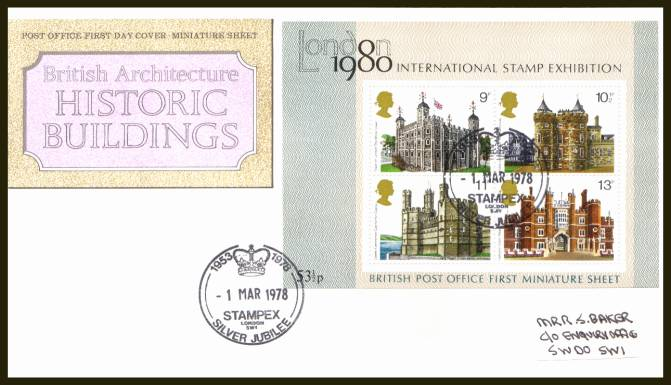 view larger back view image for Historic Buildings minisheet on a label addressed official Royal Mail  FDC cancelled with a strike of the STAMPEX - LONDON SW1